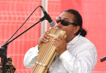 Pan pipe music at F1 village